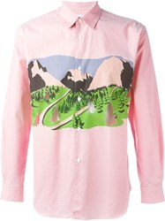 Comme Des Gara Ons Shirt Landscape Print Cut Out Shirt Pink And Purple