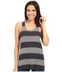 Alternative Apparel Printed Meegs Racer Tank Eco Grey Iron Weathered Stripe Women's Sleeveless Gray