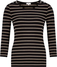 Cc Narrow Stripe Jersey Top Black