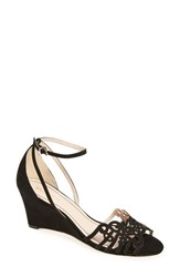 Klub Nico Women's 'Kingston' Ankle Strap Wedge Sandal Black Nubuck Leather