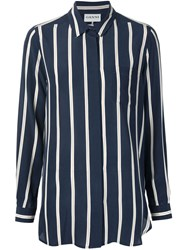 Ganni Striped Button Up Shirt Blue