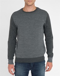 M.Studio Grey Charcoal Milan Jacquard Pattern Embroidered Heart Wool Round Neck Sweater