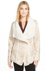 Petite Women's Laundry By Shelli Segal Draped Collar Faux Shearling Coat Pink Sand Cream