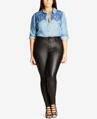 City Chic Trendy Plus Size Skylar Coated Faux Leather Skinny Jeans Black