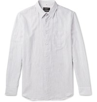 Rag And Bone Beach Pinstriped Cotton Shirt Gray