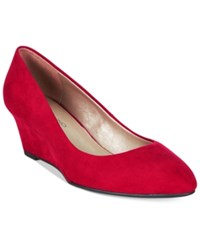 Bandolino Franci Wedge Pumps Red Suede