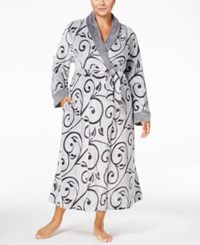 Charter Club Plus Size Embossed Scroll Long Robe Only At Macy's Black Scroll