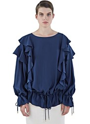 Lanvin Oversized Ruffled Drawstring Top Blue