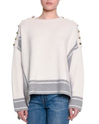 Alexander Mcqueen Military Striped Cashmere Sweater W Buttons Gray White Grey White