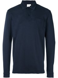 Sunspel Long Sleeve 'Riviera' Polo Blue