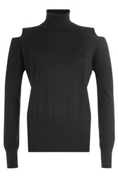 Vince Wool Turtleneck Pullover With Cut Out Shoulders Black
