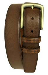 Men's Boconi 'Hendrix' Pebbled Leather Belt Cognac