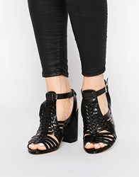 New Look Weave Block Heel Sandals Black