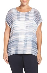Vince Camuto Plus Size Women's Two By 'Breezy Textures' Print Front Mixed Media Tee