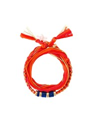 Aurelie Bidermann Cotton Bracelet Yellow And Orange