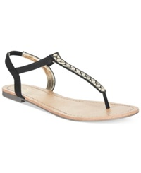 Material Girl Sage T Strap Flat Thong Sandals Only At Macy's Women's Shoes Black