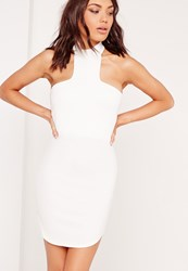 Missguided Halter Neck Curve Hem Bodycon Dress White White