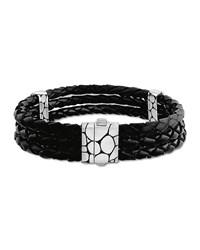 Kali Black Woven Leather Triple Row Bracelet John Hardy Blue