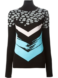 Etre Cecile Etre Cecile Cheetah And Chevron Pattern Sweater Black