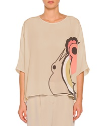 Piazza Sempione Abstract Parrot Print Oversized Tunic Taupe