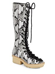 3.1 Phillip Lim Mallory Embossed Leather Knee High Boots Off White Black