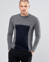 Religion Jumper With Block Panel Detail Charcoal Grey