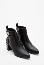 Forever 21 Strapped Faux Leather Booties Black