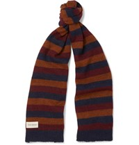 Oliver Spencer Ola Striped Wool Blend Scarf Navy