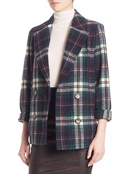 Set Plaid Double Breasted Jacket Green Blue