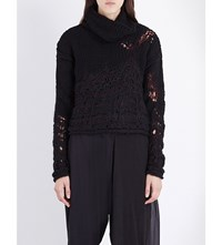 Isabel Benenato Contrast Panel Wool Blend Turtleneck Jumper Black