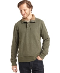 G.H. Bass And Co. Faux Fur Fleece Mock Sweater Forest Night