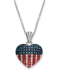 Macy's Red White And Blue Diamond Flag Heart Pendant Necklace In Sterling Silver 1 3 Ct. T.W.