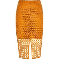 River Island Womens Orange Circle Lace Pencil Skirt