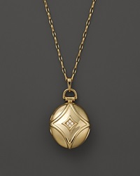 Monica Rich Kosann 18K Yellow Gold Petite Geometric Locket Necklace With Diamond Accents 30 Gold White