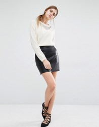 Suncoo Fittz Faux Leather Mini Skirt Black