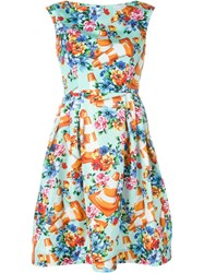 Moschino Floral And Traffic Cone Print Dress Green