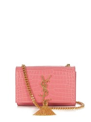 Saint Laurent Kate Small Crocodile Effect Leather Cross Body Bag Pink