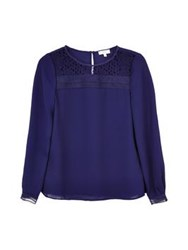 Reiss Tilly Lace Trim Top Indigo