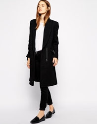 Ymc Single Breasted Coat With Exposed Pockets Black