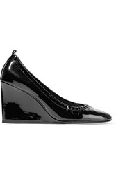 Lanvin Patent Leather Wedge Pumps Black