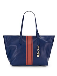 Cynthia Rowley Hayden Leather Racing Stripe Tote Navy