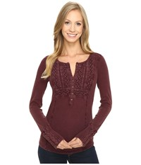 Lucky Brand Washed Bib Henley Thermal Top Port Royale Women's Clothing Burgundy