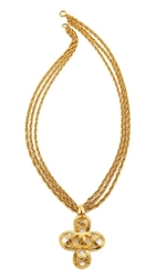 Wgaca Vintage Chanel Open Oval Necklace Gold