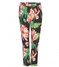 Stella Mccartney Floral Printed Cropped Crepe Trousers Multicoloured