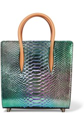 Christian Louboutin Paloma Small Irridescent Python And Leather Tote Snake Print