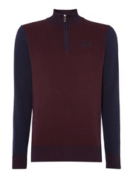 State Of Art Jumper Sportzip In Melange Knit.Fine Gauge Red