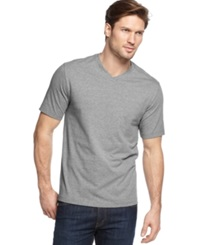 John Ashford Big And Tall Solid V Neck T Shirt Charcoal Heather