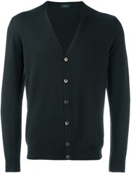 Zanone V Neck Cardigan Green