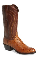 Men's Lucchese 'Montana' Genuine Ostrich And Calfskin Western Boot Tan Burnished Tan Ranch