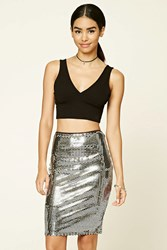 Forever 21 Sequin Knit Skirt Silver